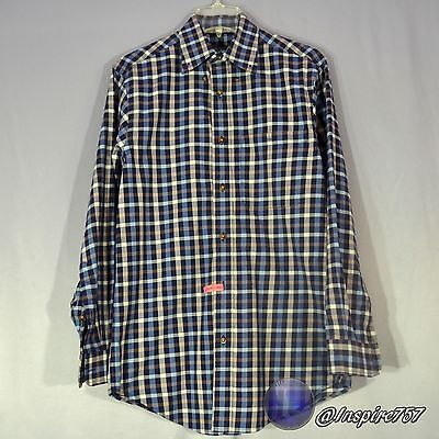 ORVIS Men's Button Front Casual Long Sleeved Shirt Size S Small Blue Plaid