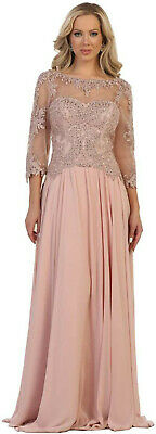 MOTHER of THE BRIDE 3/4 SLEEVE FORMAL EVENING GOWN DESIGNER CHURCH LONG DRESSES