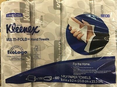 """Kleenex  88130  Multi-Fold Paper Hand Towels White 1-Ply 600 Count 9.4"""" X 9.2"""""""
