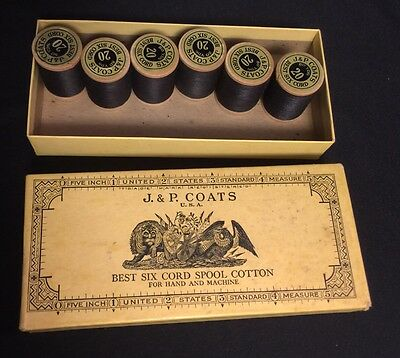 Original Vintage Thread-J&P Coats Box 6 Of 12 Spools Best Six Cord Cotton In Box