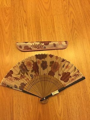 Japanese Folding Fan (Sensu) with a case: Floral painting