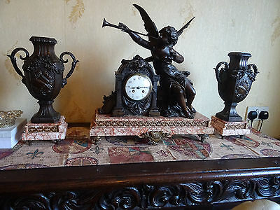antique large french f. marti marble clock set with bronze angel pre 1900