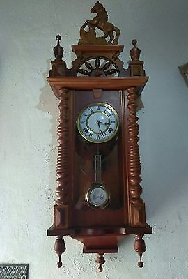 Antique Walnut RA Wall Regulator Clock with Horse Crest Works Great with key