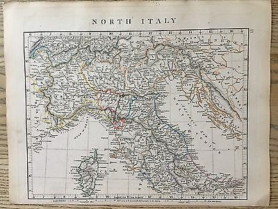 1828 North Italy By Aaron Arrowsmith Hand Coloured Antique Map 189 Yrs Old