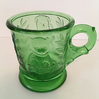 Green Glass Child's Cup Cat in Basket & Bear with Drum - Flower & Signed M