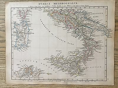 1828 Ancient Sicily South Italy Arrowsmith Hand Coloured Antique Map 189 Yrs Old