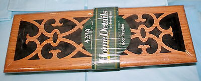 2-New Home Details Wooden Floor Register Duct Size 4 x 14 inches NIP