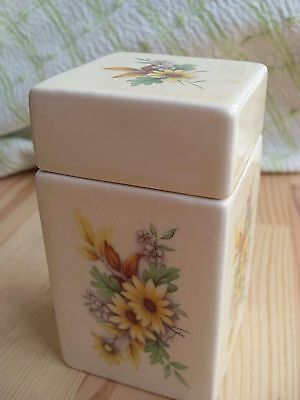 Vintage Crown Devon Pottery Container and Lid Floral Design