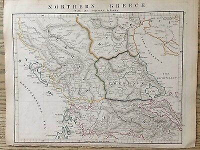 1828 Northern Greece By Aaron Arrowsmith Hand Coloured Antique Map 189 Yrs Old