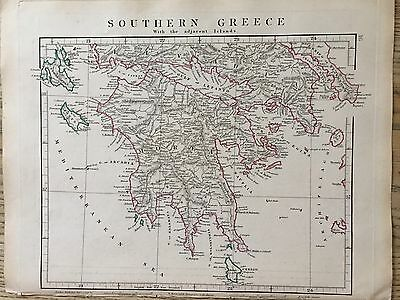 1828 Southern Greece By Aaron Arrowsmith Hand Coloured Antique Map 189 Yrs Old