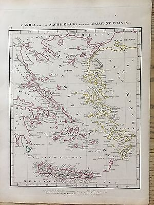 1828 Aegean Sea Greece By Arrowsmith Hand Coloured Antique Map 189 Yrs Old