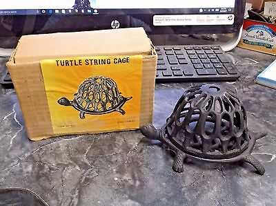 Vintage Cast Iron Metal Turtle String Twine Holder Candleholder W/Original Box