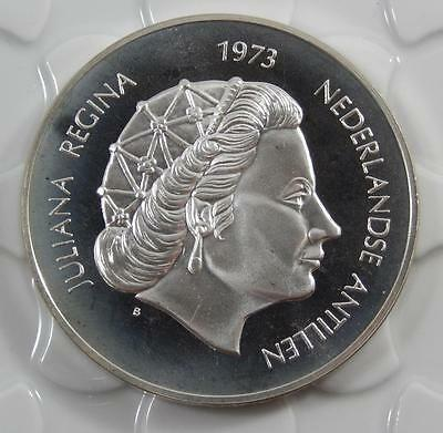 Netherlands Antilles 1973 Sterling Silver Proof 25 Gulden Coin C0241