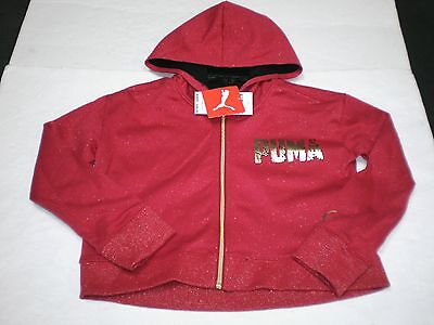 New Girls Youth Puma  Full Zipper Red Shimmer  Hooded Hoodie Sweatshirt  XL