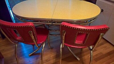 Vintage 'Kitchen Master'1950's Formica/Chrome base table & 4 chairs,Douglas Corp