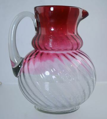 Rare NORTHWOOD RUBINA THREADED SWIRL/JEWEL PATTERN WATER PITCHER GLASS REVERSE!