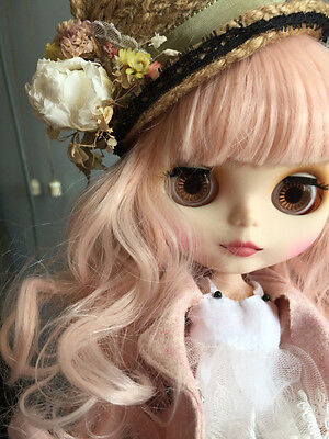 "12"" Blythe Nude Doll from Factory Matte Face Joints Body Pink Wave Hair JSK05"