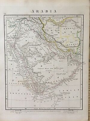 1828 Arabia By Aaron Arrowsmith Hand Coloured Antique Map 189 Years Old