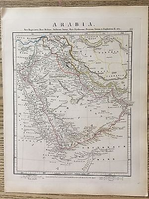 1828 Ancient Arabia By Aaron Arrowsmith Hand Coloured Antique Map 189 Years Old