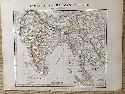 1828 India & Southeast Asia By Aaron Arrowsmith Hand Coloured Map 189 Years Old