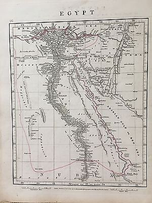 1828 Egypt By Aaron Arrowsmith Hand Coloured Antique Map 189 Years Old