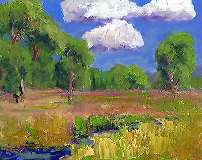8x10 inch colorful impressionist oil landscape painting on board by Ken Burnside