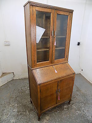 Deco,small,slim,vintage,oak,bureau,bookcase,cabinet,glazed doors,desk,shelves