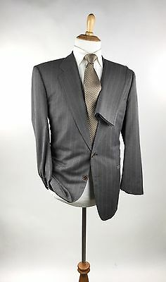 Canali Milano 2 Btn Gray Striped Wool Pic-Stitched Men's Suit 42R 34W Italy*