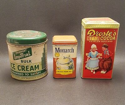 Lot of 3 Vintage Collectible Tins (Droste's, Monarch & Fairmont Imperial)