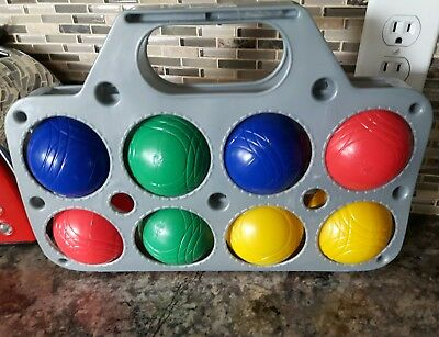 Set 8 colorful BOCCE ball lawn bowling game plastic carry case primary colors