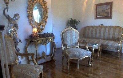 Gilt Settee: Canape, 2 Fauteuils,  Marble Table,  French Baroque Rococo Louis XV