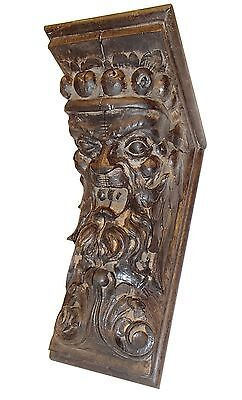 """Vintage Wall Bracket Shelf - Hand Carved Wooden Face - 12""""x8.5""""x5"""" inch."""