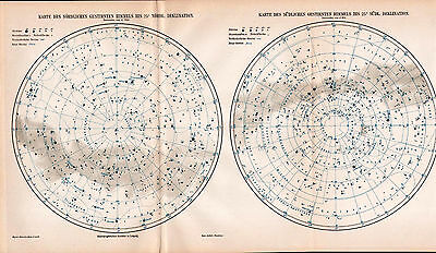 Antique map. STAR MAP. NORTHERN & SOUTHERN SKY. 1905