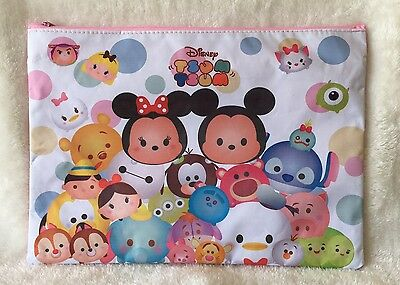 White Tsum Tsum Double Zip A4 File Folder Document Pencil bag Stationery School