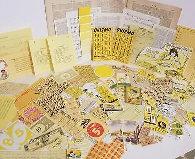 vintage ephemera paper variety box lot tickets stamps yellow pieces 75+ E