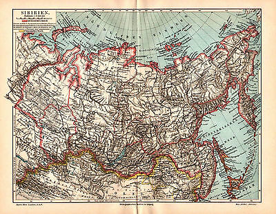 Antique map. RUSSIAN EMPIRE. SIBERIA. 1905