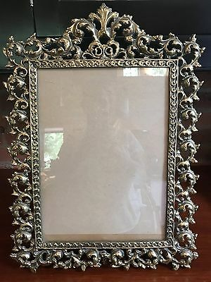 Vintage Large & Heavy Cast Brass Ornate Picture Frame