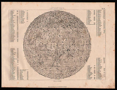 Antique map. MOON MAP. 1870