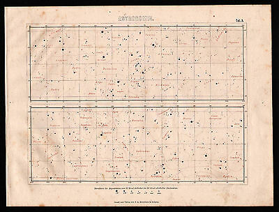 Antique engraving, map. EQUATORIAL ZONE STAR MAP. 1870