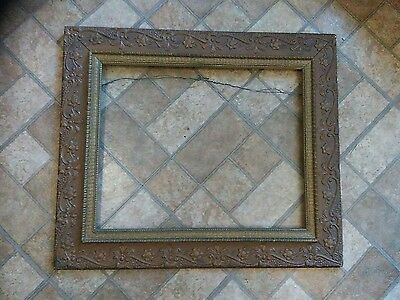 "Antique Wood Picture Frame 24"" x 23"" flowers ornate"
