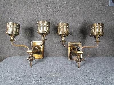 ANTIQUE 1920s PAIR OF MISSION ARTS & CRAFTS LAMP WALL SCONCES