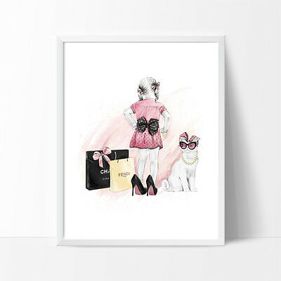 Cute Girl Shopping Nursery, Kids Wall Prints, Wall Print, Teenage Wall Print