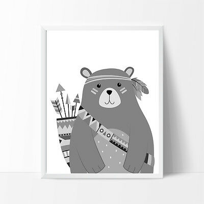 Bear Tribal Monochrome Nursery Bedroom Decor Kids Wall Prints, A4 Prints