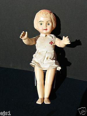 """12"""" Blonde Bobbed Hair Articulated Doll Wearing Red Cross on Cotton Dress c 1920"""