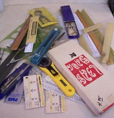 Lot of Vintage Drafting/Architectural Supplies and Tools (28 items)
