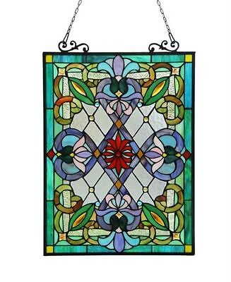 """Stunning Victorian Design Stained Glass Tiffany Style Window Panel 18"""" W x 26"""" T"""