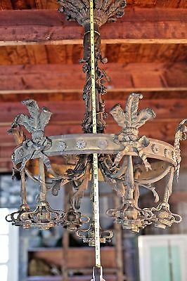 RARE Early 1900s LARGE Antique Brass Hotel Electric Chandelier Ceiling Light OLD