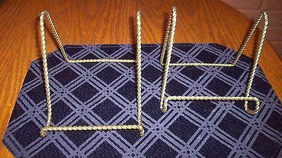 Two (2) Gold Braided Twisted Metal Book/plate Stands