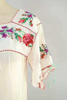 VINTAGE 40's MEXICAN Top~Sheer Voile EMBROIDERED Peasant Festival Hippie Blouse
