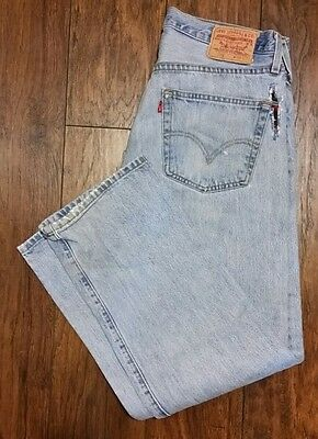 Levi's 501 Button Fly Distressed Destroyed Ripped Jeans SZ. 34x30 Meas. 33x29